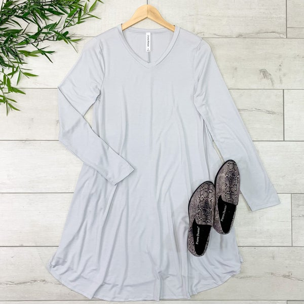 Solid V-Neck Swing Dress, Gray Mist