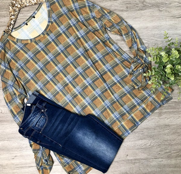 Plaid Top w/Gathered Sleeves, Tan *Final Sale*