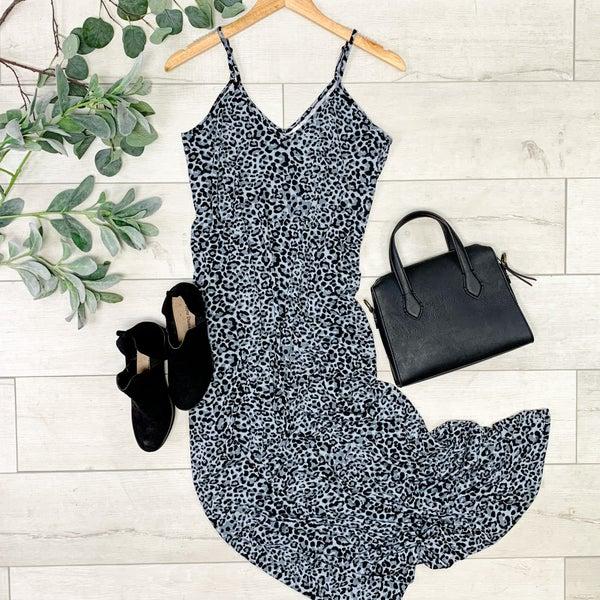 Strappy Leopard Print Maxi, Gray Black