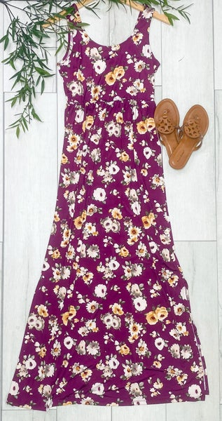 Sleeveless Floral Maxi Dress, Plum