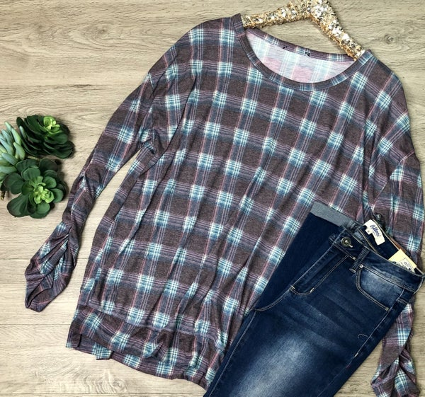Plaid Top w/Gathered Sleeves, Purple *Final Sale*
