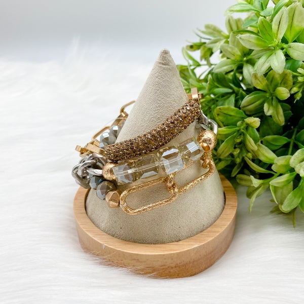 Chain + Beaded Three Bracelet Set, Gold