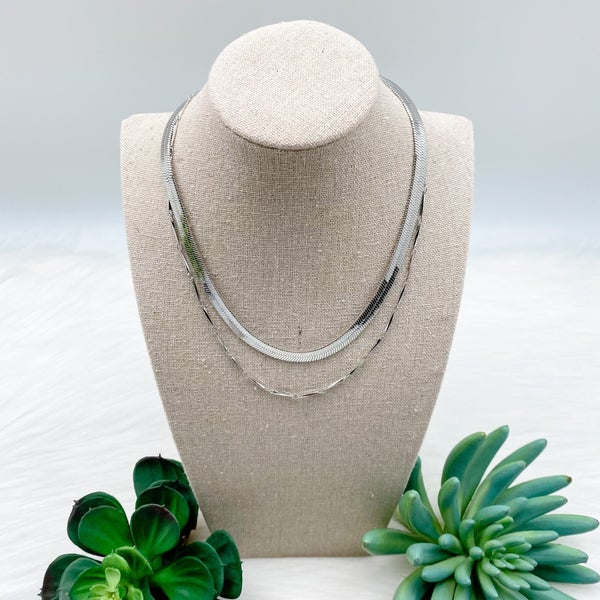 Snake Chain Layered Necklace, Silver