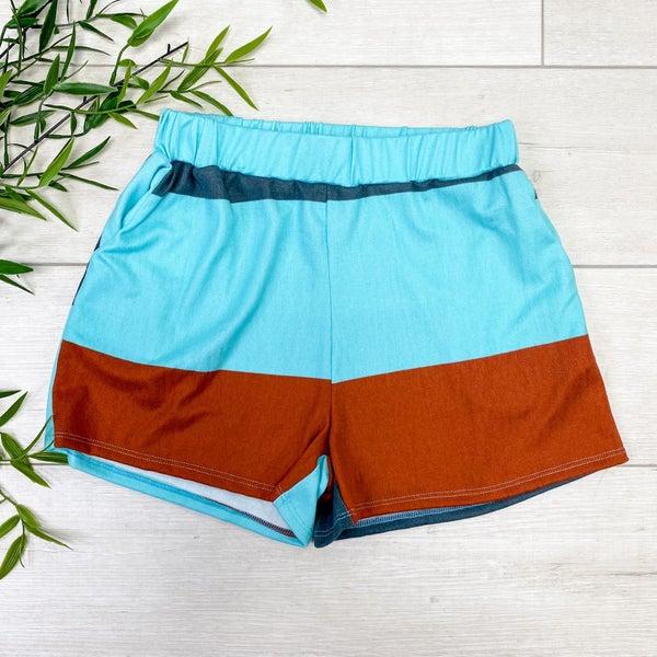 Color Block Lounge Shorts, Rust/Aqua *Final Sale*