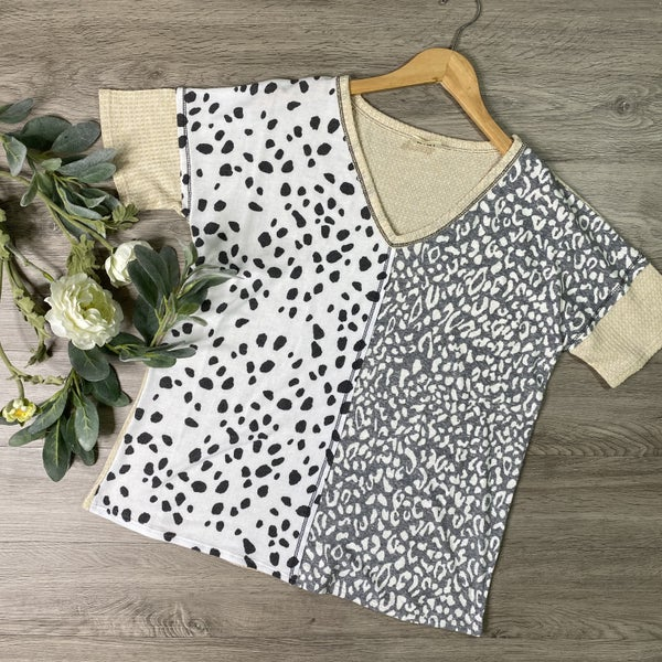 *Kendra's Collection* Leopard Contrast Top, Ivory