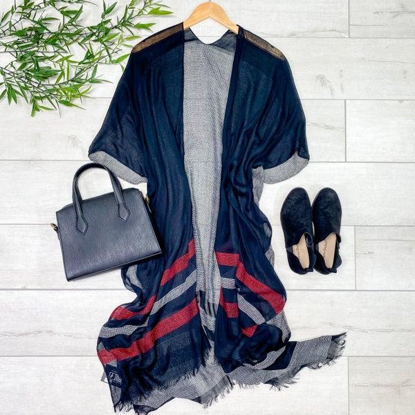 Striped Woven Fringe Kimono, Black