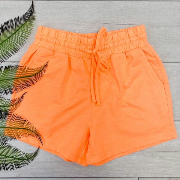 French Terry Shorts, Neon Coral