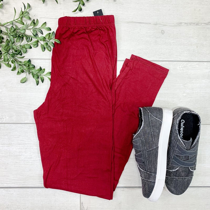Solid Leggings, Burgundy