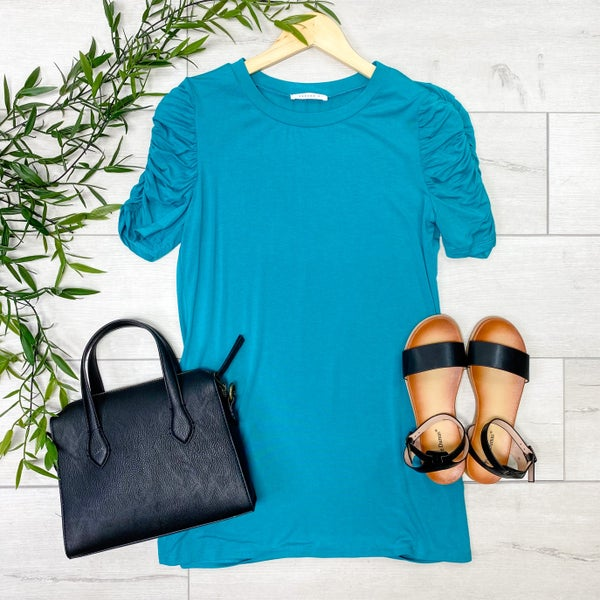 Gathered Sleeve Top, Teal