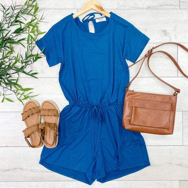 Solid Cuffed Sleeve Romper, Teal