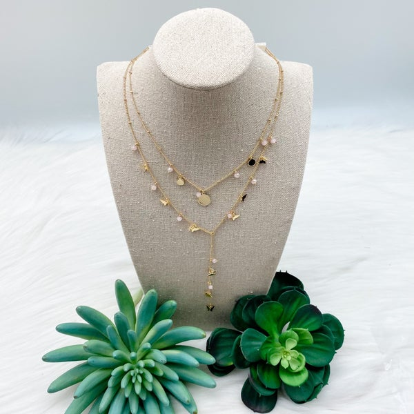 Layered Butterfly and Crystal Drop Necklace