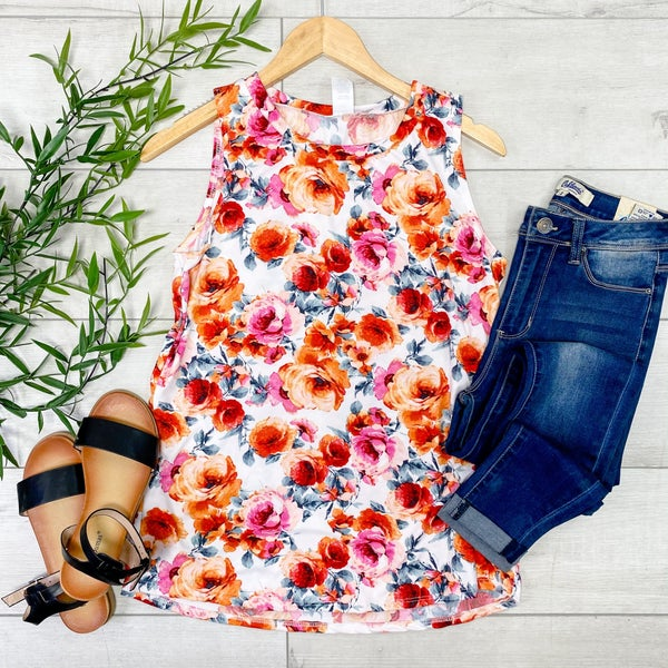 Floral Patterned Tank, Ivory