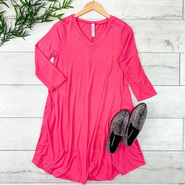 Solid V-Neck 3/4 Sleeve Swing Dress w/ Pockets, Fuchsia