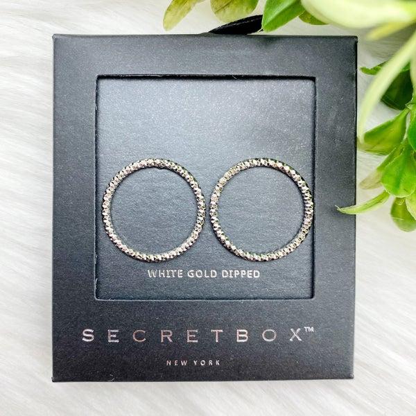 Diamond Cut Circle Stud Earrings, Silver