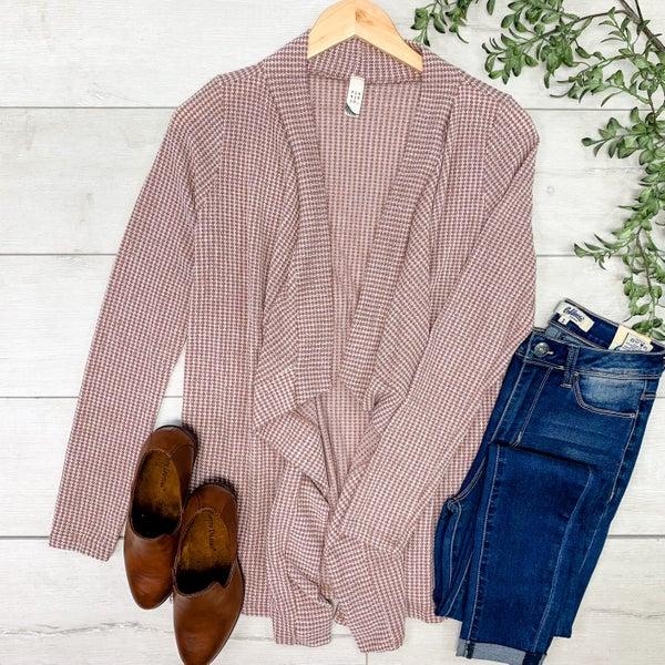 Striped Waffle Knit Cardigan, Brown