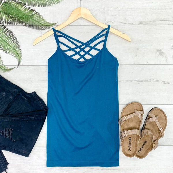 Criss Cross Neck Cami, Teal
