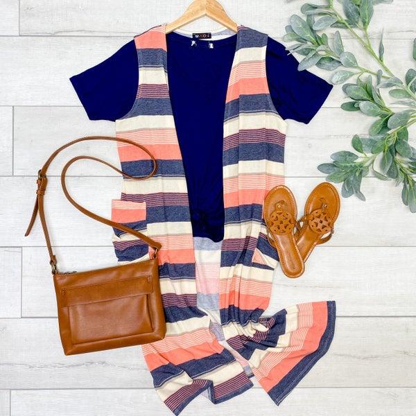 Striped Vest w/ Pockets, Pink