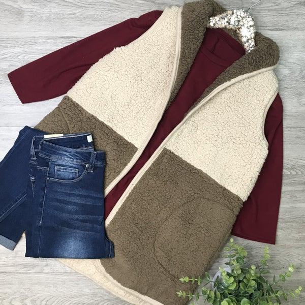 Color Block Sherpa Vest, Brown/Tan