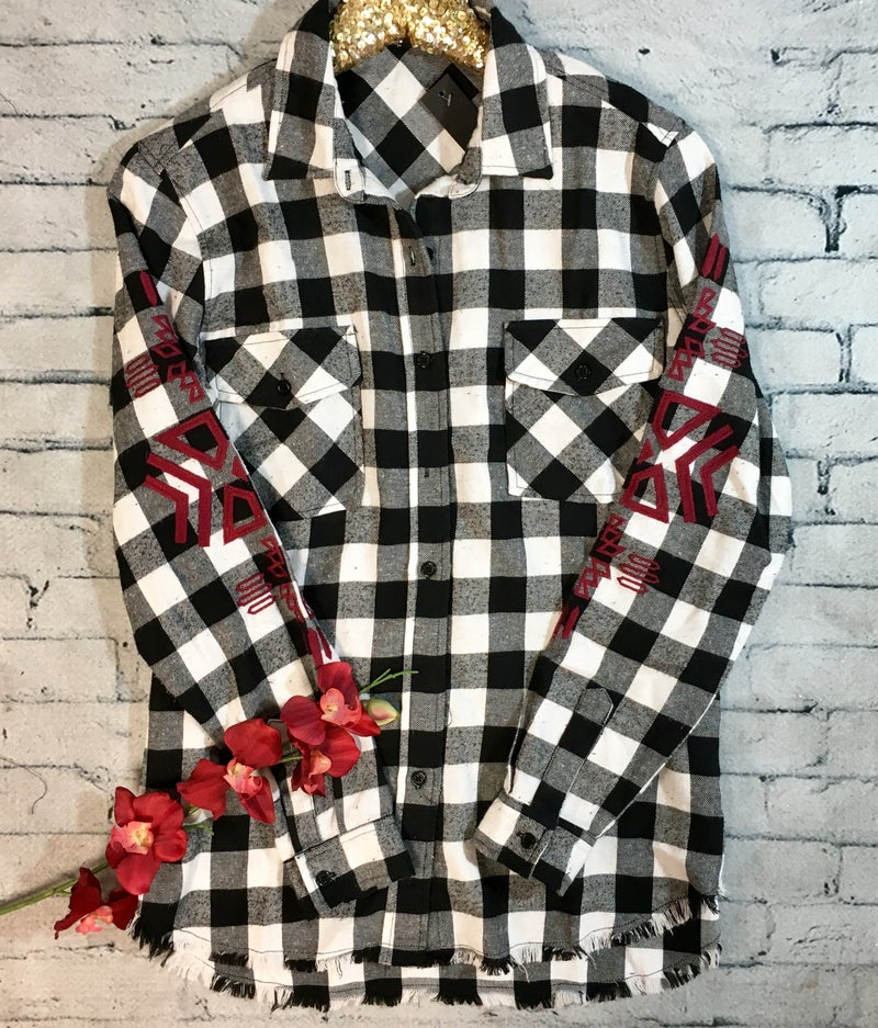 Buffalo Plaid Button Front Top - BLACK/WHITE (N) *LAST CALL - $5* [FINAL SALE]