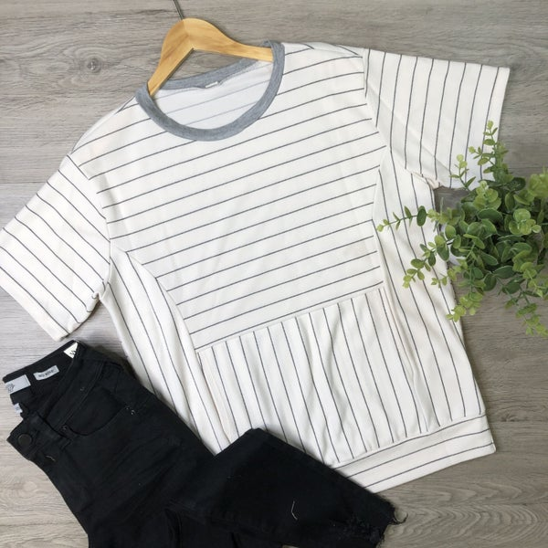 Striped Short Sleeve Top- Ivory *Final Sale*