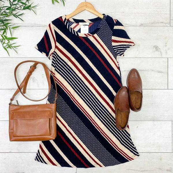 Striped Sweater Dress, Navy/Cream