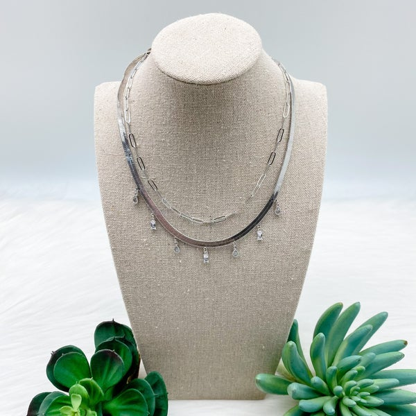 Snake Chain w/  Drop Crystals Layered Necklace, Silver
