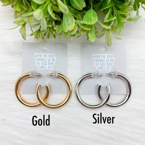 Small Shiny Hoop Earrings