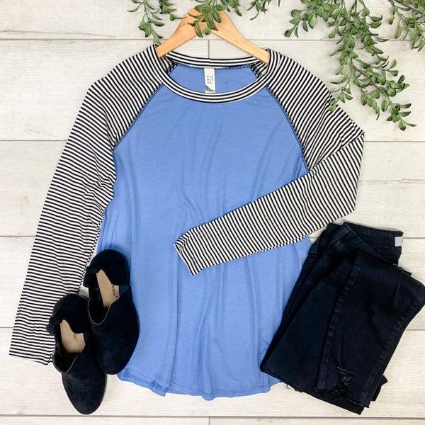 Solid Raglan Top w/Striped Sleeves, Blue
