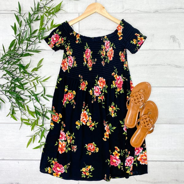 Floral Smocked Dress, Black