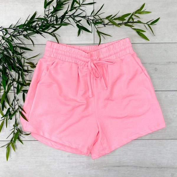 French Terry Shorts, Bright Pink