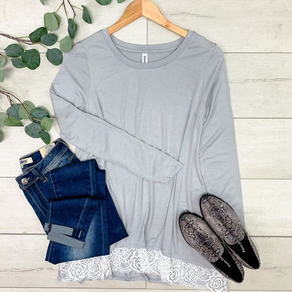 Lace Trimmed Tunic Top, Light Gray