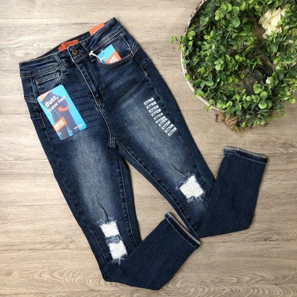 High Rise Cuffed Skinny Jean, Dark