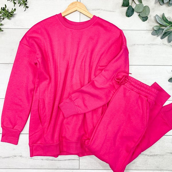 Pullover and Pants Set, Hot Pink