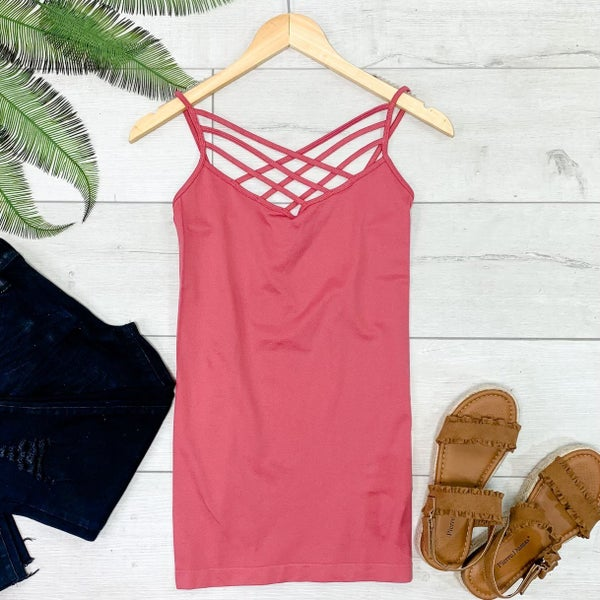 Criss Cross Neck Cami, Rose