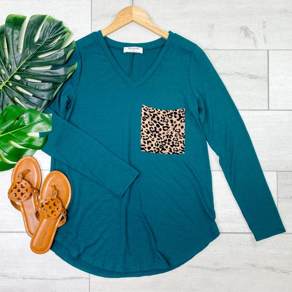 V-Neck Leopard Print Pocket Top, Deep Green [[LIVE]]