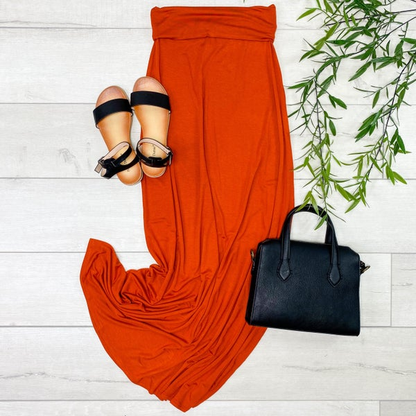 Relaxed Fit Maxi Skirt, Copper [[LIVE]]