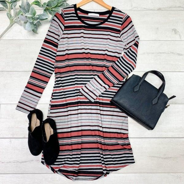 Striped Round Hem Dress, Rust *Final Sale*