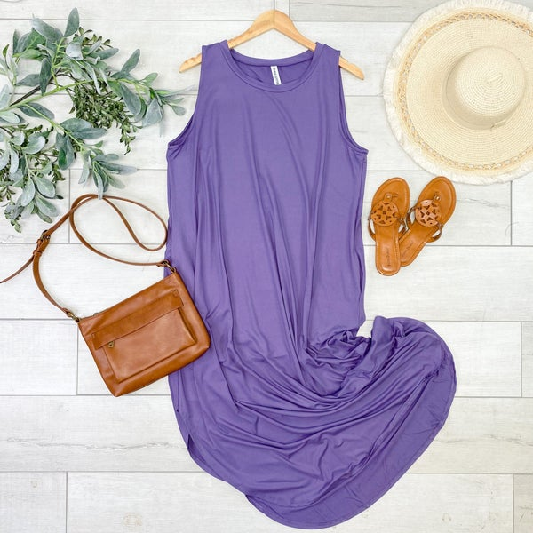*PLUS* Solid Sleeveless Midi, Lilac Gray