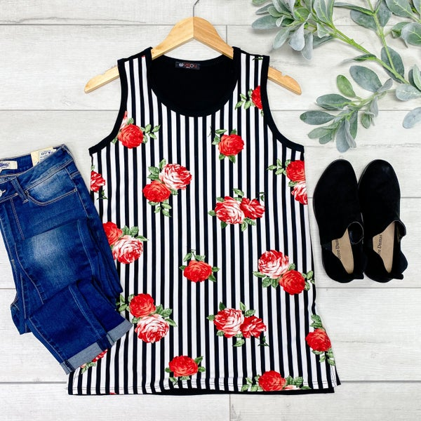 Contrast Striped and Floral tank, Black