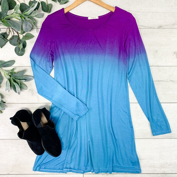 Ombre Swing Dress, Purple/Blue
