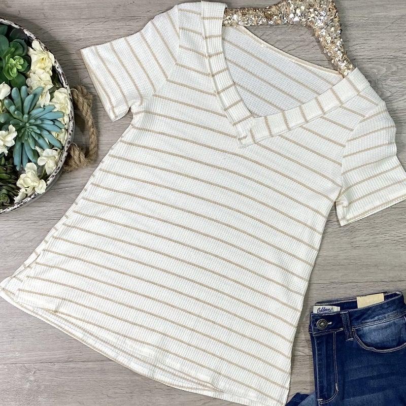 Striped Knit V-Neck Top, Ivory/Taupe *Final Sale*