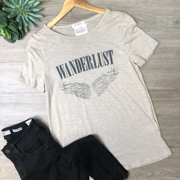 *Kendra's Collection* Graphic Tee - Wanderlust, Sand