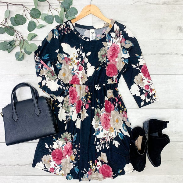 Floral Babydoll Dress, Black