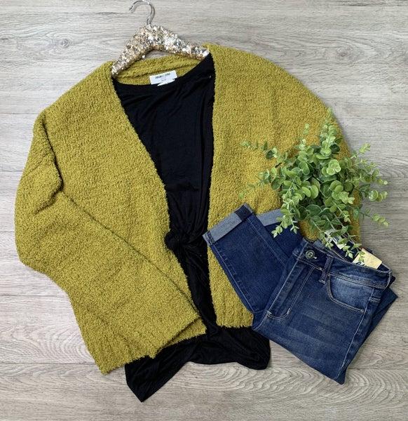 Cozy Knit Cardigan, Ecru Olive