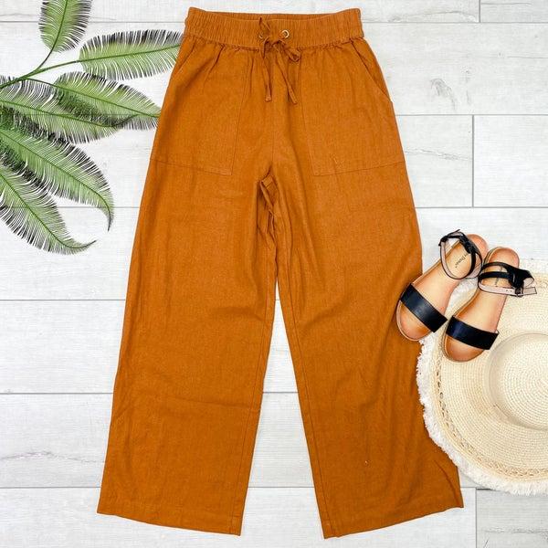 Linen Drawstring Pants, Almond