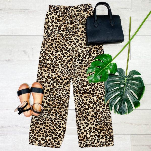 Animal Print Pants w/Tie Waist, Brown *Final Sale*