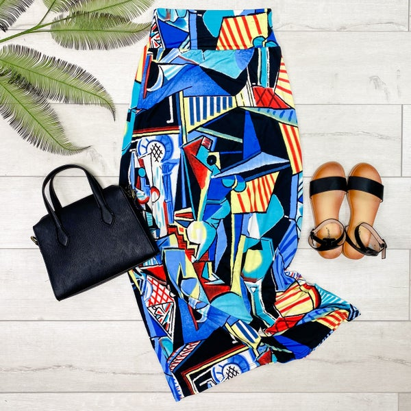 Patterned Maxi Skirt, Blue