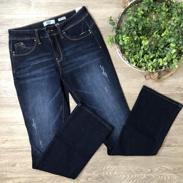 Mid Rise Boot Cut Jean, Dark