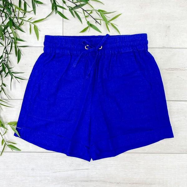Drawstring Cuffed Linen Shorts w/Pockets, Bright Blue