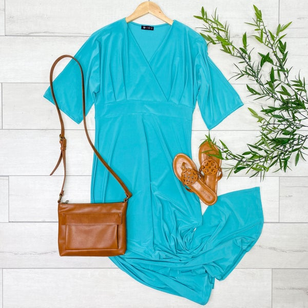 Solid Cross Over Maxi, Teal